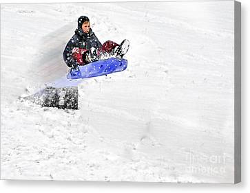 Snow And Kids Canvas Print by Dan Friend