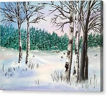Snow And Trees Canvas Print