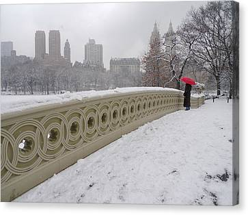 Snow At Bow Bridge Canvas Print