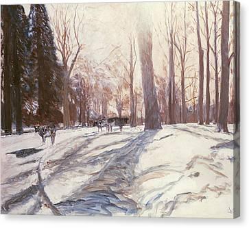 Snow At Broadlands Canvas Print by Paul Stewart