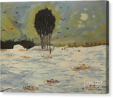 Canvas Print featuring the painting Snow At Christmas by Pamela  Meredith