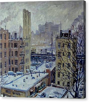 Snow At Dusk New York City Canvas Print by Thor Wickstrom