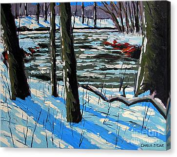 Snow Back On The Eel Canvas Print by Charlie Spear