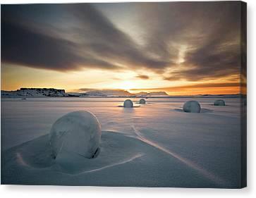 Haybales Canvas Print - Snow Bales by Bragi Ingibergsson -