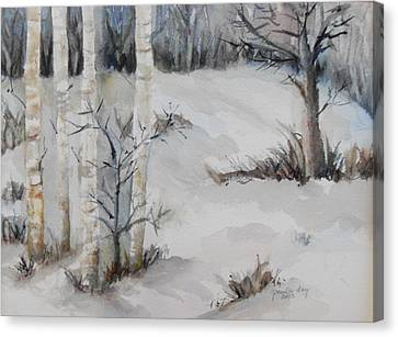 Snow Birches Canvas Print