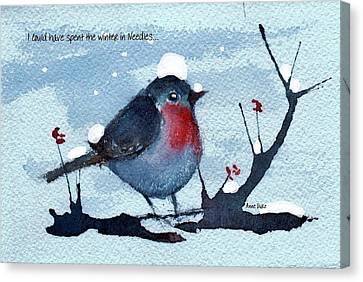 Canvas Print featuring the painting Snow Bird From Needles by Anne Duke