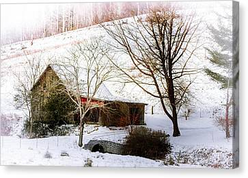 Red Barn In Snow Canvas Print - Snow Blanket by Karen Wiles