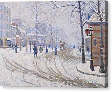 Snow  Boulevard De Clichy  Paris Canvas Print