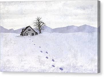 Snow Cabin Canvas Print by Steve Dininno