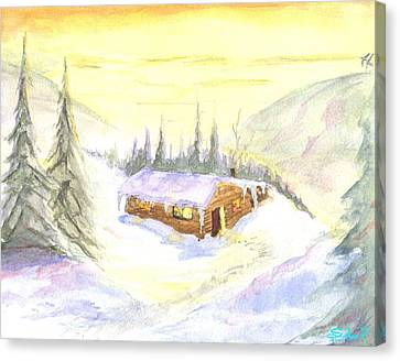 Snow Cabin Welcome Canvas Print by Sherril Porter