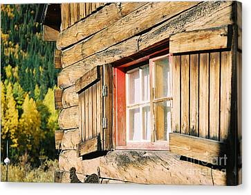 Canvas Print featuring the photograph Snow Cabin Window by Arthaven Studios