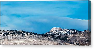 Snow-capped Horsetooth Rock Canvas Print by Harry Strharsky