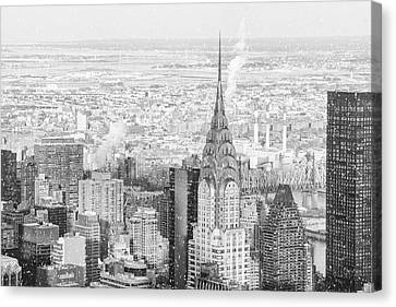 Nyc Rooftop Canvas Print - Snow - Chrysler Building And New York City Skyline by Vivienne Gucwa