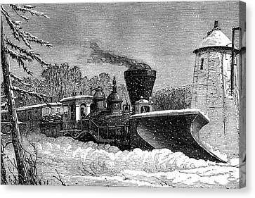 Snow Clearing Train Canvas Print by Collection Abecasis