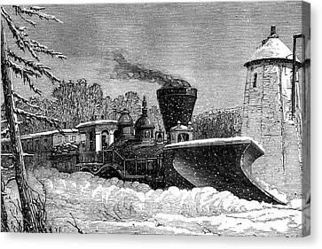 Snow Clearing Train Canvas Print