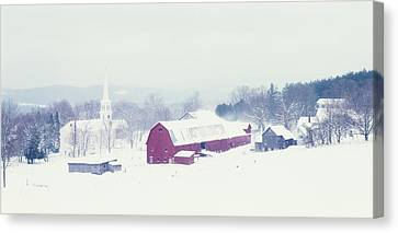 Snow Covered Barn And A Church Canvas Print by Panoramic Images