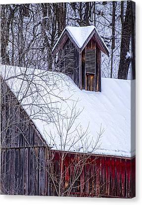 Snow Covered Barn Canvas Print by Wayne Meyer