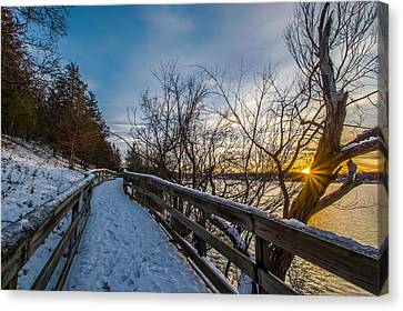 Snow Covered Boardwalk Canvas Print by Randy Scherkenbach