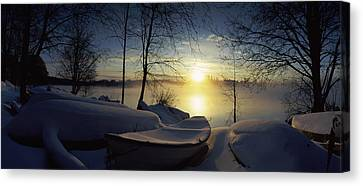 Snow Covered Boats At The Riverside Canvas Print