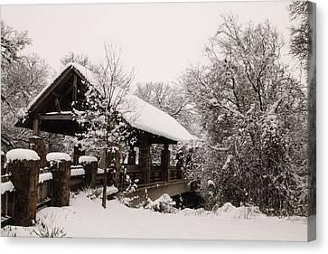 Snow Covered Bridge Canvas Print by Robert Frederick