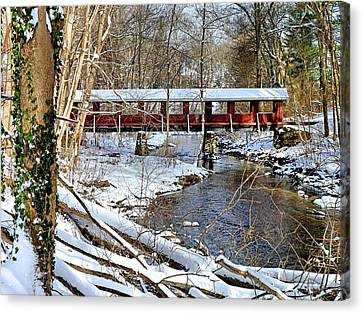 Canvas Print featuring the photograph Snow Covered Bridge by Janice Drew