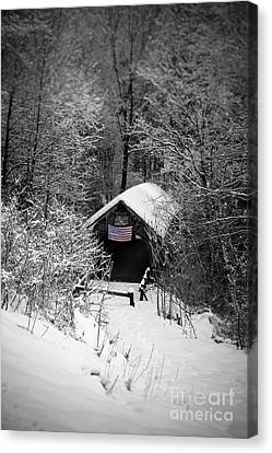 Snow Flag Canvas Print - Snow Covered Covered Bridge  by Edward Fielding