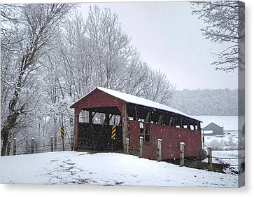 Snow Covered Covered Bridge Canvas Print
