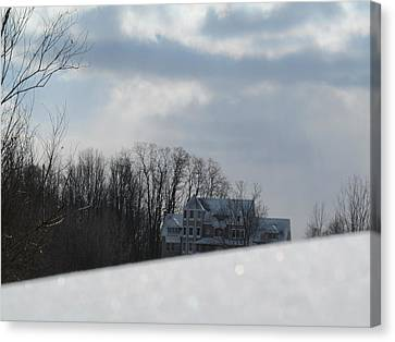 Snow Covered Driveway Canvas Print by Tina M Wenger