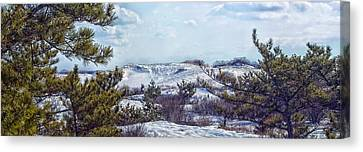 Canvas Print featuring the photograph Snow Covered Dunes Photo Art by Constantine Gregory