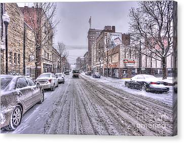 Snow Covered High Street And Cars In Morgantown Canvas Print by Dan Friend