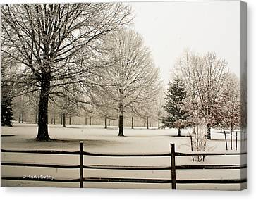 Canvas Print featuring the photograph Snow-covered Landscape by Ann Murphy