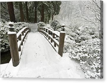 Snow-covered Moon Bridge, Portland Canvas Print by William Sutton