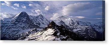 Snow Covered Mountains, Mt Eiger, Mt Canvas Print by Panoramic Images