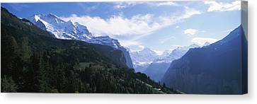Snow Covered Mountains, Swiss Alps Canvas Print by Panoramic Images