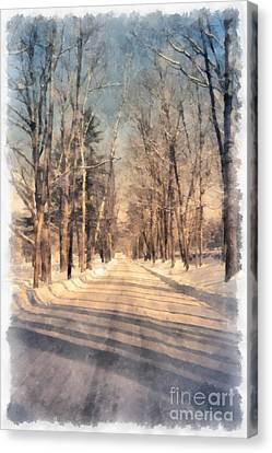 Snow Covered New England Road Canvas Print by Edward Fielding