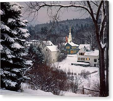 New England Village Canvas Print - Snow Covered New England Winter Evening by Vintage Images
