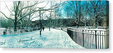 Snow Covered Park, Lower East Side Canvas Print by Panoramic Images