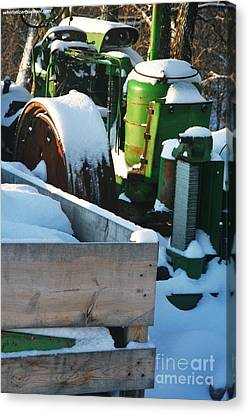 Snow Covered Tractor Canvas Print by PainterArtist FIN