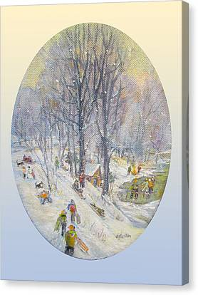 Canvas Print featuring the painting Snow Day by Donna Tucker
