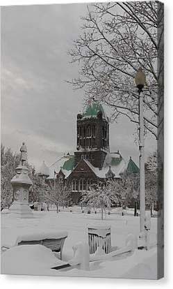 Snow Draped Green Canvas Print