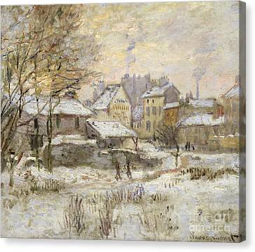 Snow Effect With Setting Sun Canvas Print by Claude Monet