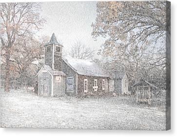 Snow Fall Old Church Canvas Print by Cindy Rubin