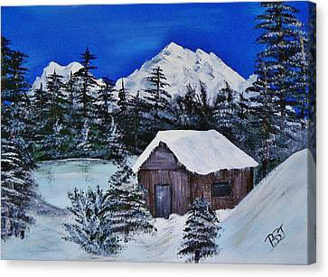 Snow Falling On Cedars Canvas Print by Barbara St Jean
