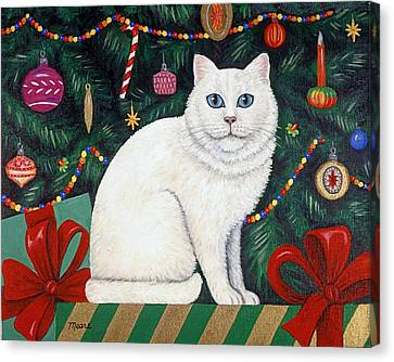 Snow Flake The Cat Canvas Print by Linda Mears