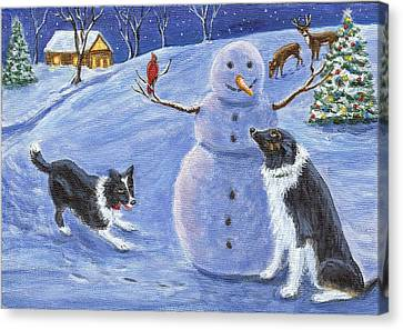 Snow Friends Canvas Print by Fran Brooks