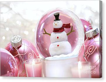 Snow Globe With Pink  Balls  Canvas Print by Sandra Cunningham
