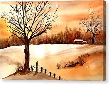 Snow Glow Canvas Print by Neela Pushparaj