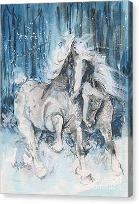 Snow Horses Canvas Print by Mary Armstrong