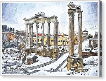 Snow In Rome Canvas Print by Stefano Senise