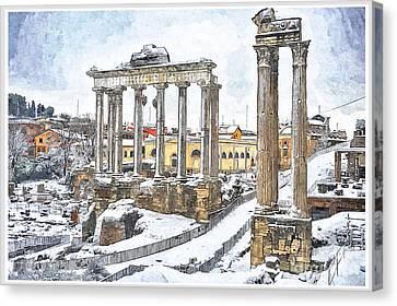 Snow In Rome Canvas Print
